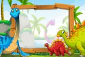 Dinosaurs around the wooden frame