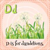 Flashcard letter D is for dandelions