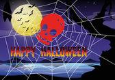 Halloween téma pavučina a lebky