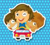 Boys and girl riding in car