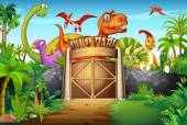 Dinosaurs living in the park
