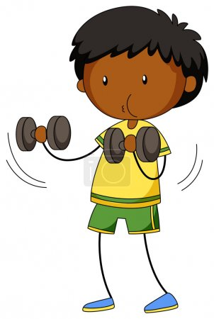 Little boy lifting weights illustration...