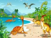 Dinosaurs living on the beach