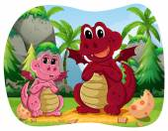 Dvou dinosaurus sedí v lese