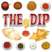 Different kind of dips and chips
