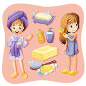 Women in bathrobe and bathroom set