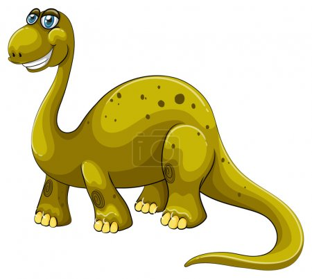 Green sauropod with happy face