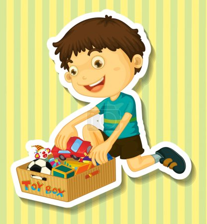 Boy putting toys in the box