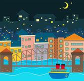Bridge over the river scene at night