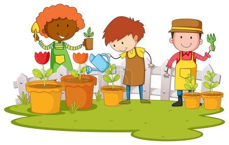 Gardeners planting tree and flower in garden