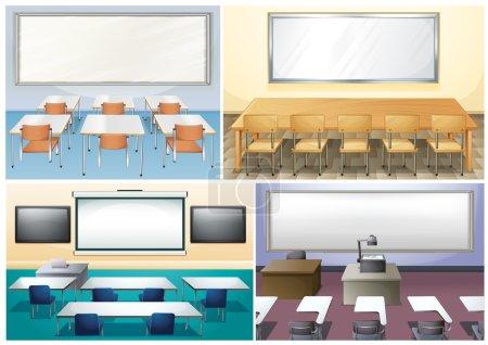 Illustration pour Quatre scènes d'illustration en classe - image libre de droit
