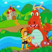Rytíř a drak u řeky