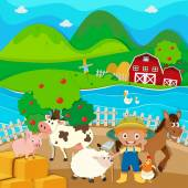 Farm theme with farmer and farm animals