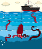 Giant octopus and fishing boat
