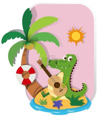 Crocodile playing guitar on island