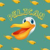 Pelican face and fish illustration