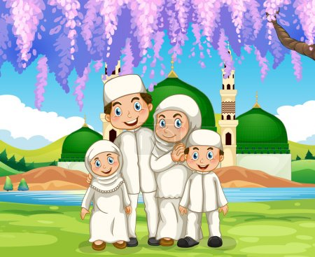 Muslim family standing in the park