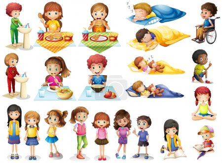 Illustration for Kids and different routines illustration - Royalty Free Image