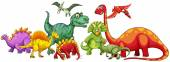 Different type of dinosaurs in group