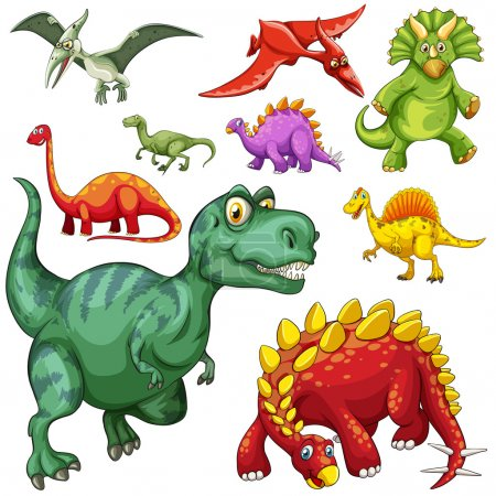 Different kind of dinosaurs