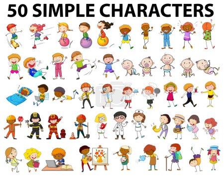 Illustration pour Cinquante personnages simples illustration jeunes et vieux - image libre de droit