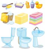 Set of bathroom equipments illustration
