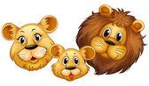 Rodina lva s šťastný obličej