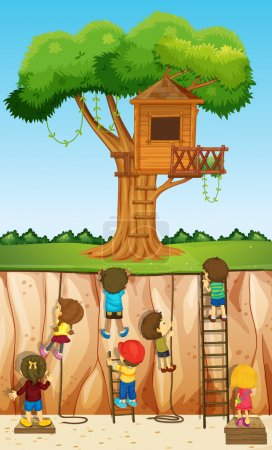 Children climbing up the cliff illustration...