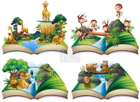 Illustration pour Livre avec des animaux sauvages dans la jungle illustration - image libre de droit