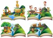 Book with wild animals in the jungle