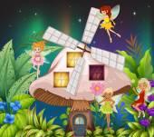 Fairies flying around the mushroom hosue at night
