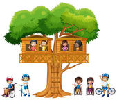 Children playing at the treehouse