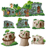 Cavemen and houses in the mountain