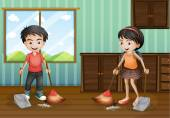 Boy and girl sweeping the floor