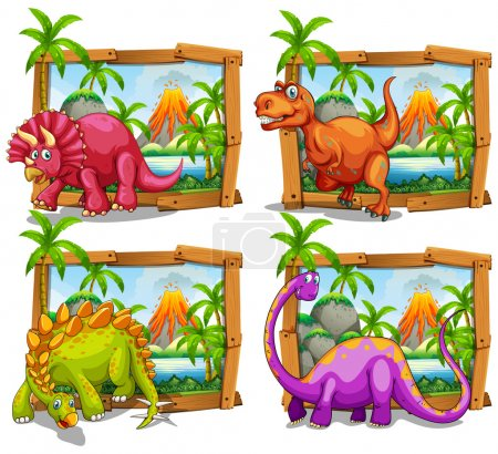 Four dinosaurs in wooden frame