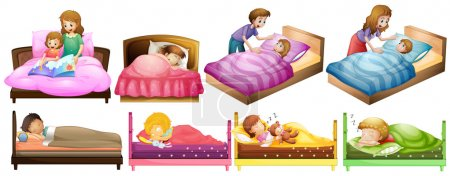Illustration for Boys and girls in bed illustration - Royalty Free Image