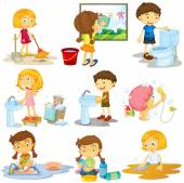 Children doing different chores illustration