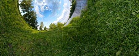 Photo pour Photo panoramique ressemblant à inversé la planète verte. Concept de l'écologie. - image libre de droit