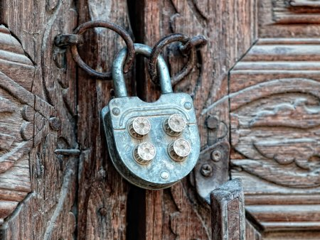 Door with old iron lock.