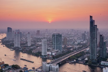 Panorama view over Bangkok skyline