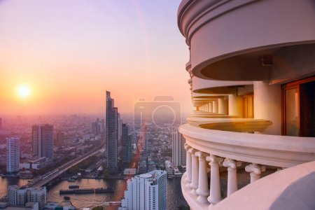Photo for BANGKOK, THAILAND - Janyary 29. Panorama view of Bangkok skyline from 59 floor of the Lebua At State Tower - Royalty Free Image