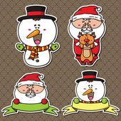Cute holiday set of winter characters stickers