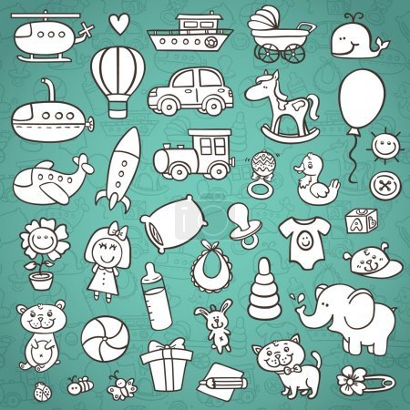 Funny baby icons set.