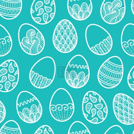 Illustration for Vector seamless doodle easter pattern with Easter eggs - Royalty Free Image