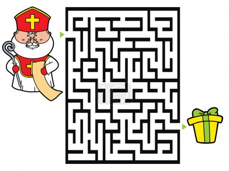 Vector illustration of labyrinth game with cute St...