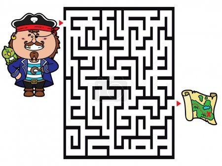 Vector illustration of labyrinth game with cute Pi...