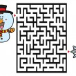 Vector illustration of labyrinth game with cute Sn...