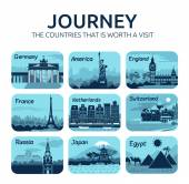 Set of flat travel icons with different countries