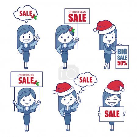 Business  Characters girls for holiday sale banner.