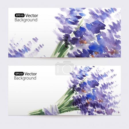 Illustration for Two floral watercolor banners with bouquet of lavender.  The vector templates  you can use for visit cards, labels or banners. - Royalty Free Image